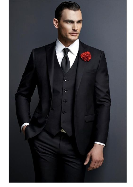 Men suits black single breasted wedding suits for notched lapel men slim fit formal prom 2pieces blazer custom groom prom tuxedo