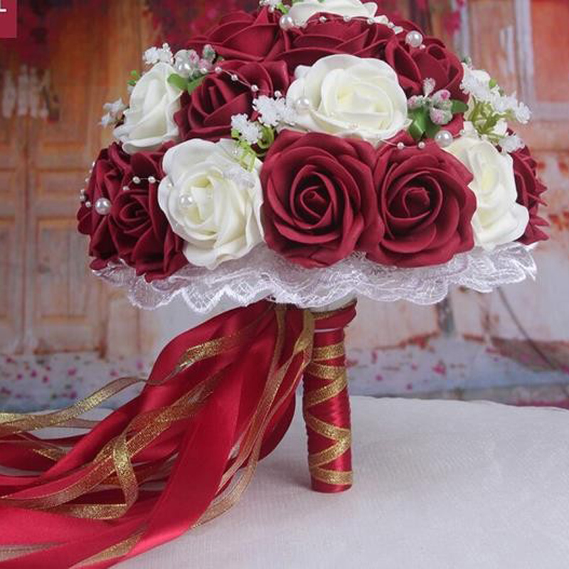 Fashion Cheap Burgundy Wedding Bouquet Pink Red White Bridal Bridesmaid Flower Artificial Rose Bride In Dried Flowers