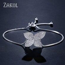 ZAKOL Cute Flower Shaped Women Bracelet Bangles White Micro Zirconia Paved Link Chain Jewelry For Wedding FSBP2016 цена