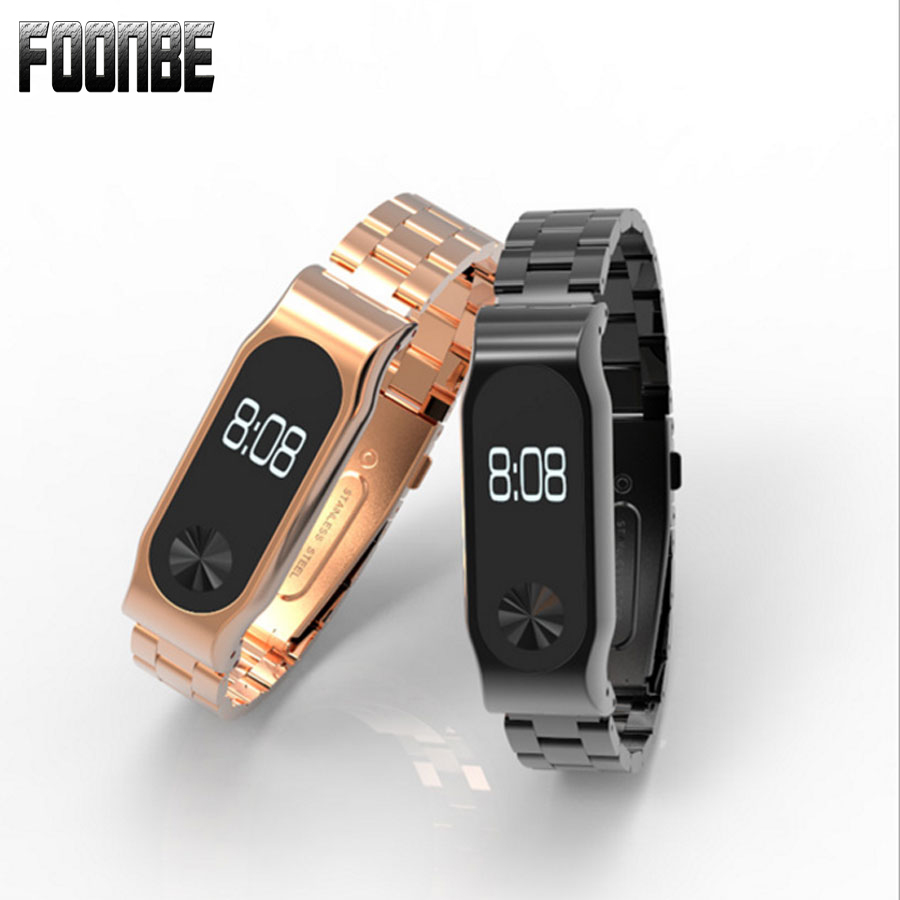 Metal Strap For Xiaomi Mi Band 2 Screwless Stainless Steel Bracelet Miband Wristbands Replace