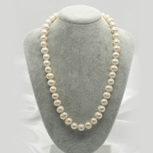 Women Gift word 925 Sterling silver real Jewelry natural freshwater pearl necklace choker nearly round white light micro leisure