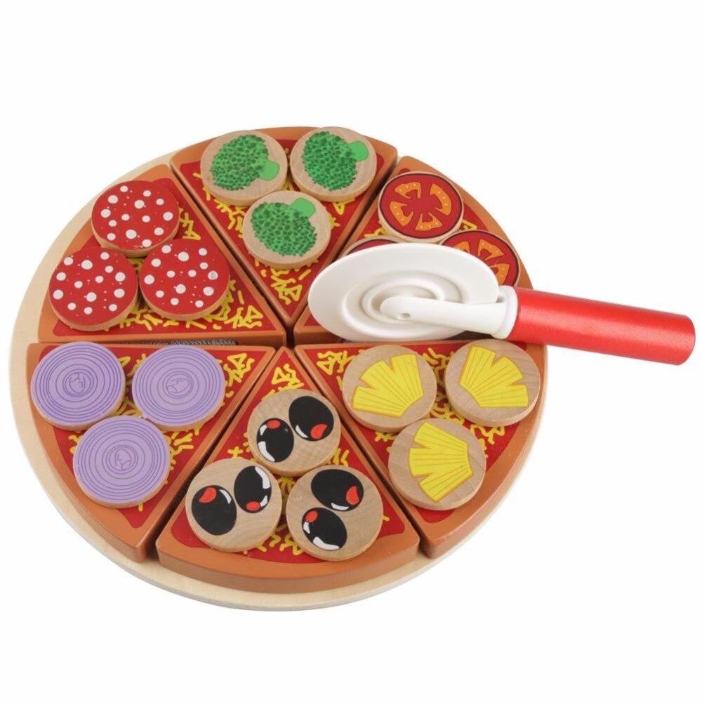 Новые деревянные овощей для резки пиццы DIY игрушки Еда комплекты претендует игрушки для Для детей образования Кухня Пособия по кулинарии де...