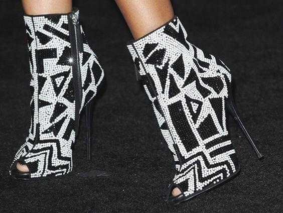 Fiesta Zapatos Nueva Geométrico Peep Tacones As Mujeres Tachonado Tobillo Lleno De Negro Rhinestone Blanco Toe Pic Botines Cristalizado Altos Bombas FFnqTwr1
