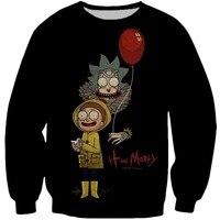 b608baadb71 3D Hipster Print Cartoon Ricky and Morty Pullover Sweatshirts Men Women  Funny Casual Streetwear Tops 2018