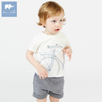 DB7455 Dave Bella Summer Baby Boys Fashion White Print Sets Kids Handsome Suit Children Boutique Clothing