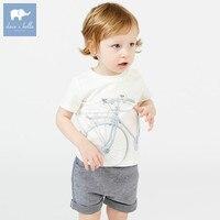 DB7455 Dave Bella Summer Baby Boys Fashion White Print Sets Kids Handsome Suit Children Boutique Clothing