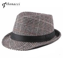 Fibonacci 2018 New Fashion Nylon Fedoras Plaid Adult Autumn Winter Hats for Men Gangster Jazz Hat