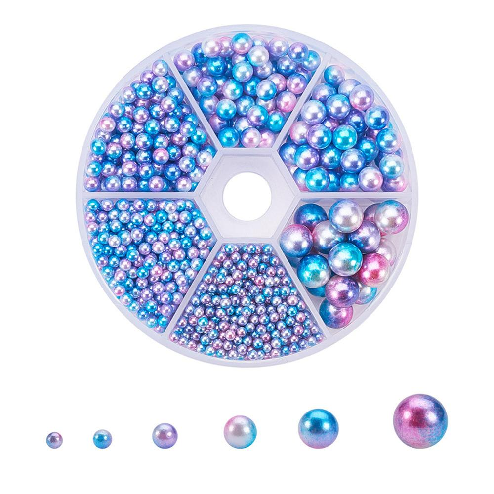 1500pcs No Hole Imitation DIY Pearl Beads Round Colorful Acrylic Handmade Jewelry Accessories for Manicure Cloth Decor