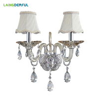 LAINGDERFUL Nordic Retro Wall Lamps Crystal LED Inwall Lights Vintage Cloth Decorate Light For Corridor Bedroom Wall Lamps
