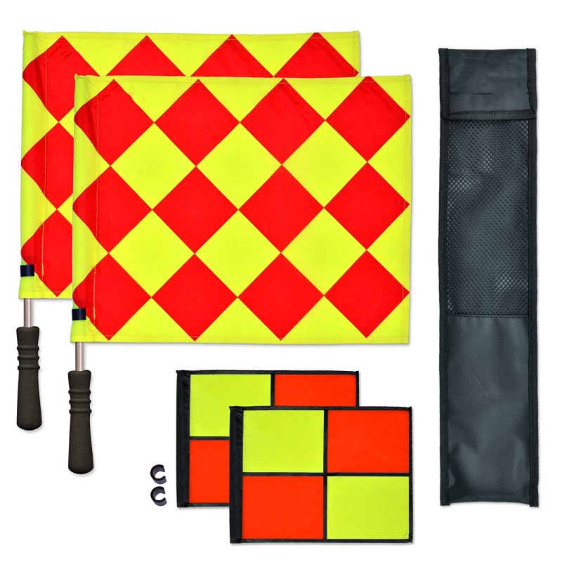 1pair Soccer Linesman Referee Flags Red Yellow Checkered Offside Hand Flags For Soccer Football Match With Stainless Steel Rods