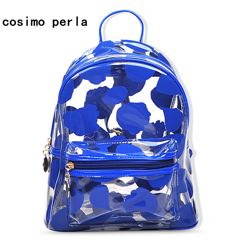 Summer New PVC Women Backpacks 2018 Korea Fashion Flower Pattern Plastic Clear Back Pack Preppy Style Jelly Color Travel Bags korea style fashion backpacks for men and women solid preppy style soft back pack unisex school bags big capicity canvas bag