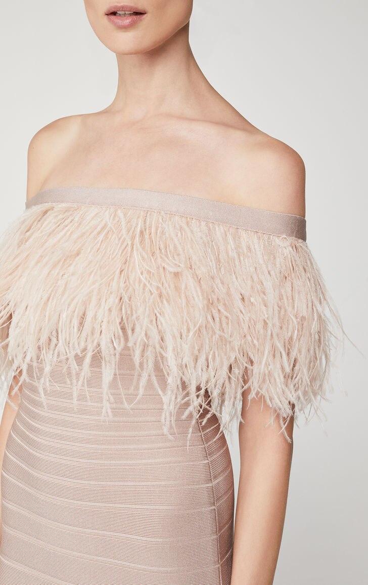 Club 2019 13 Élégant Plume Nouvelle Sexy Bandage Moulante Épaule Party Année Noir Robe Off F Femmes Cou rose Celebrity Slash STwZCYq