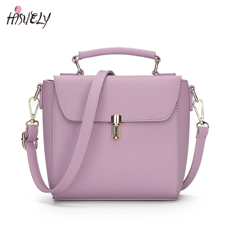HISUELY 2019 PU Leather Handbags Casual Women Messenger Bags Simple Women Bags Cross Body Bags For Girls Vintage Female Tote Bag