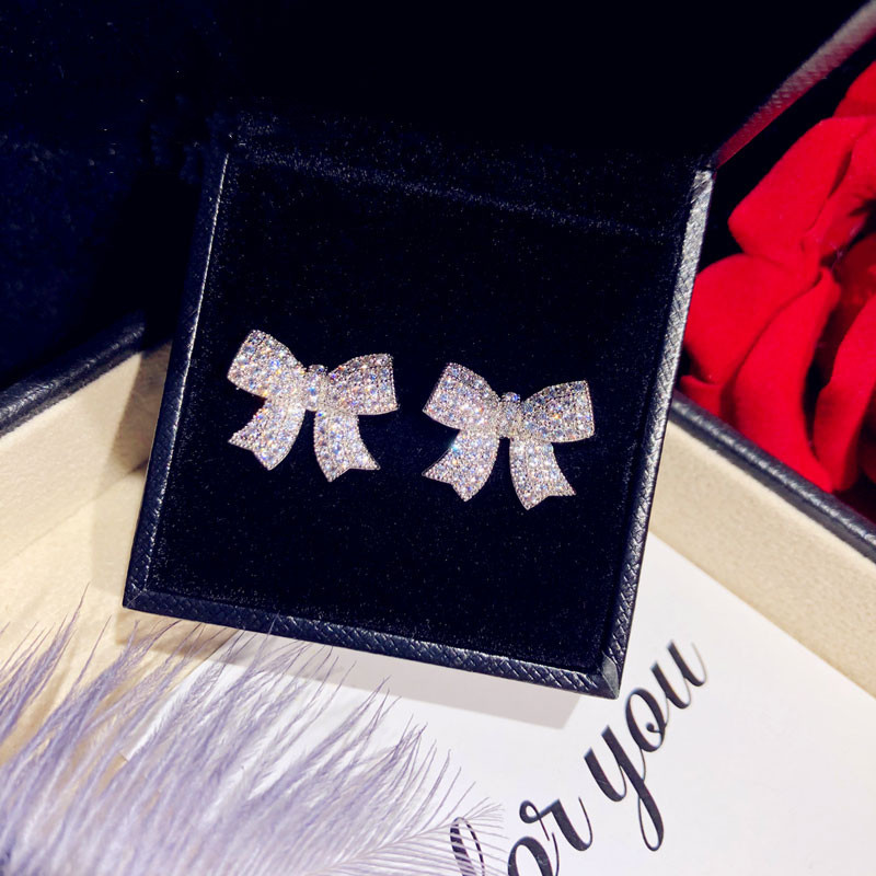 Image 2 - Stud Earrings For Women Solid 925 Silver Needles Bowknot Cubic Zirconia Fine Jewelry Lovely Sweet Cute Brincos Top Quality-in Earrings from Jewelry & Accessories