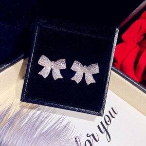 Image 2 - Stud Ohrringe Für Frauen Solide 925 Silber Nadeln Bowknot Zirkonia Feine Schmuck Schöne Süße Nette Brincos Top Qualität
