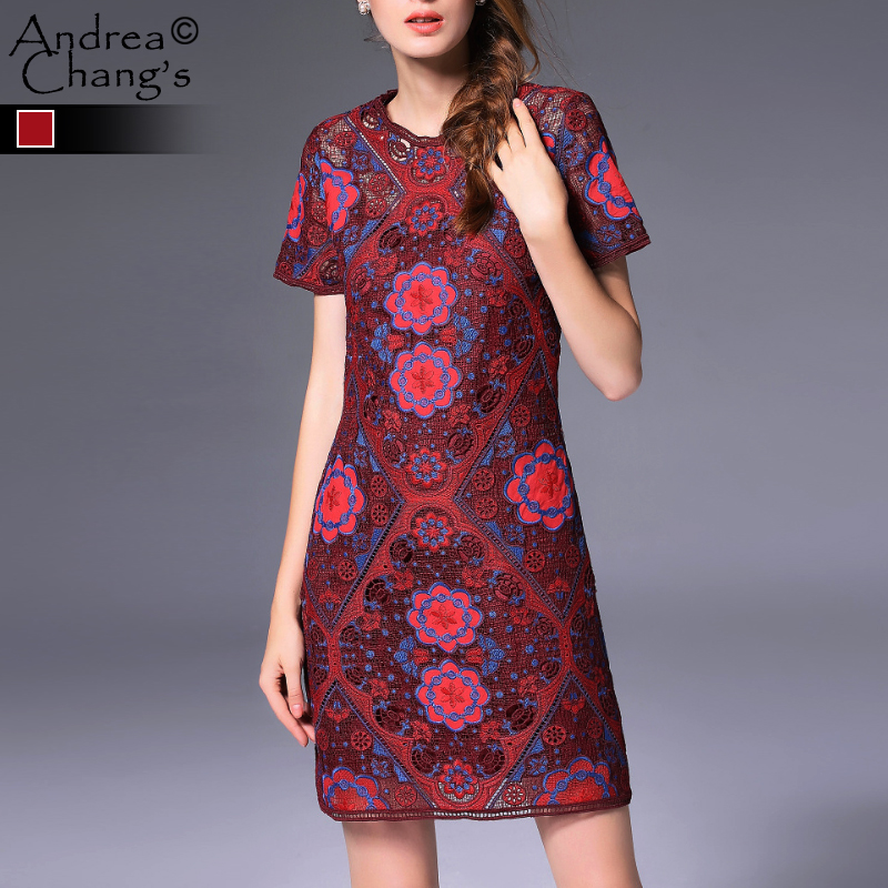 spring autumn runway designer <font><b>womens</b></font> dresses dark red blue vintage floral pattern embroidery knitted high <font><b>quality</b></font> brand dress