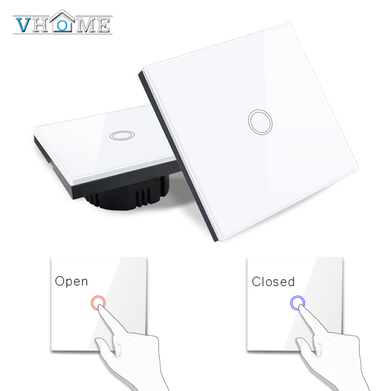 Vhome Touch Switch,EV1527 433mhz Smart Home Touch Switch Panel,EU/UK Standard 220V Wifi Control Broadlink App,Smart Wall panel vhome eu uk smart home dimmer switch glass panel wall light wall touch dimmer switch for dimmable spot lights rf 433mhz remote