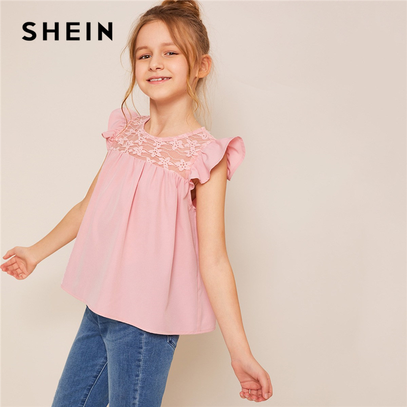SHEIN Kiddie Pink Solid Contrast Lace Ruffle Armhole Girls Cute Blouse 2019 Summer Cap Sleeve Button Sweet Children Blouses Tops polka dot lace up ruffle blouse