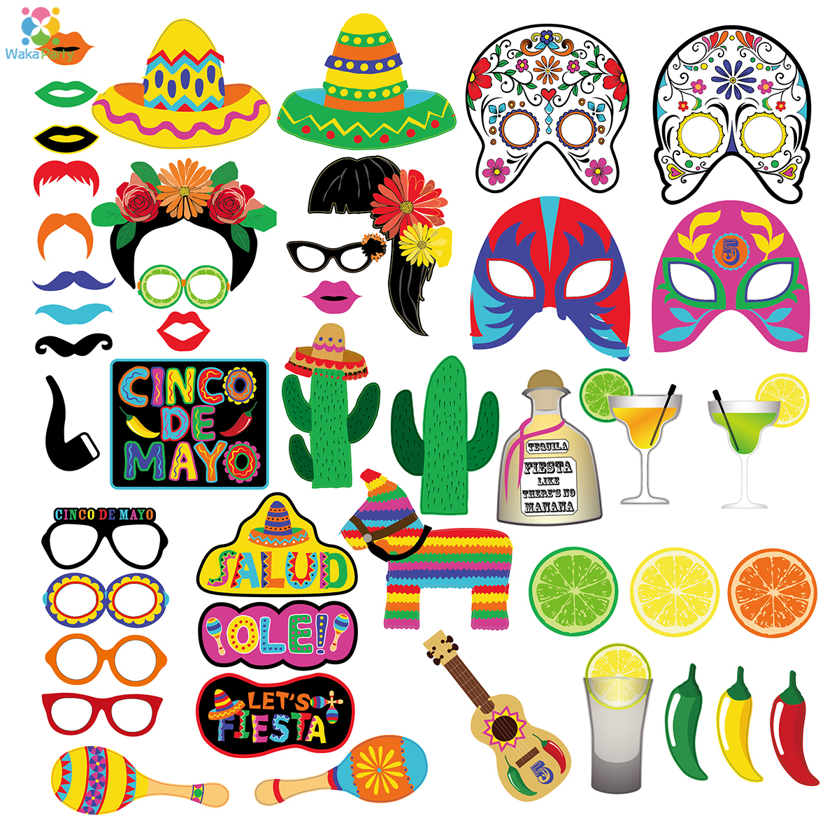 Hot Sale 45pcs Mexican Fiesta Photo Booth Props Diy Kits Mexican