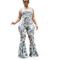 Summer GreenBack Dollars Cash Printed Rompers Womens Jumpsuit Wide Leg Bell Bottom Pants Ruffles Overalls Tank Sexy Mono Mujer