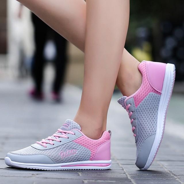 b22e3c1f9be5 US $8.93 49% OFF|Fashion Women Shoes Casual Outdoor Walking Shoes Flats  women sneakers women sport shoes wide female shoe #7-in Running Shoes from  ...