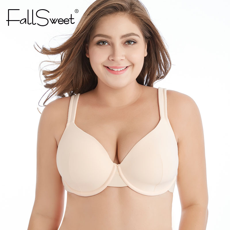 f839678bafbce FallSweet Plus Size Women Bra Solid Full Coverage Brassiere for Ladies  Underwire DD DDD Cup Lingerie Black Beige
