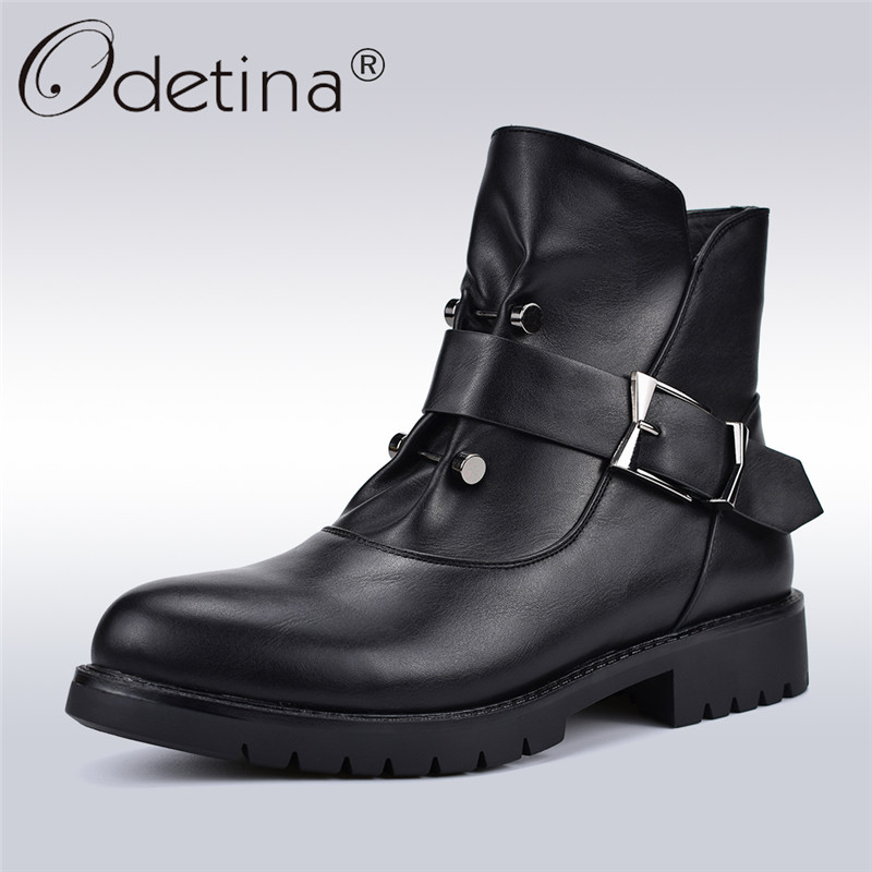 Odetina High Quality New Fashion Women Punk Boots Square Low Heels Side Zip Rivet Buckle Female Ankle Boots Autumn Winter Shoes women martin boots 2017 autumn winter punk style shoes female genuine leather rivet retro black buckle motorcycle ankle booties