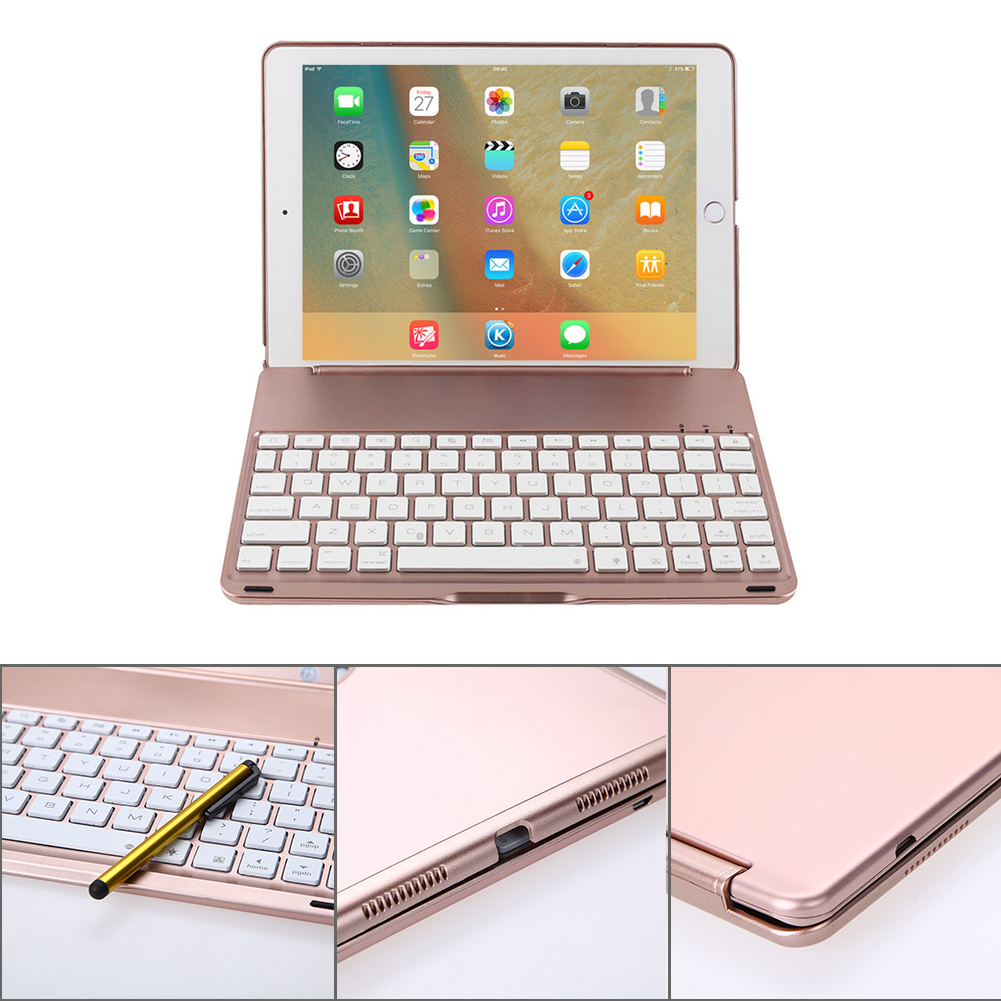 F8S LED Backlit Aluminium Bluetooth Keyboard Smart Folio Case cover with touch pen Keyboard for iPad Pro 9.7 inch/ iPad Air 2