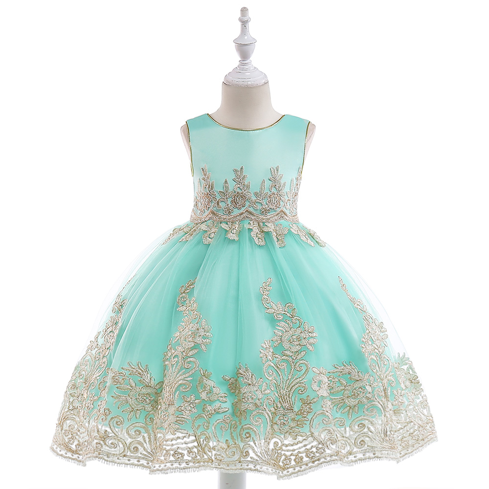 Retail Appliques Princess Girls Birthday Evening Party Gown Dress Noble Elegant Gold Line Girls Wedding Dress With Sashes L9029 elegant beaded a line appliques court train evening dress