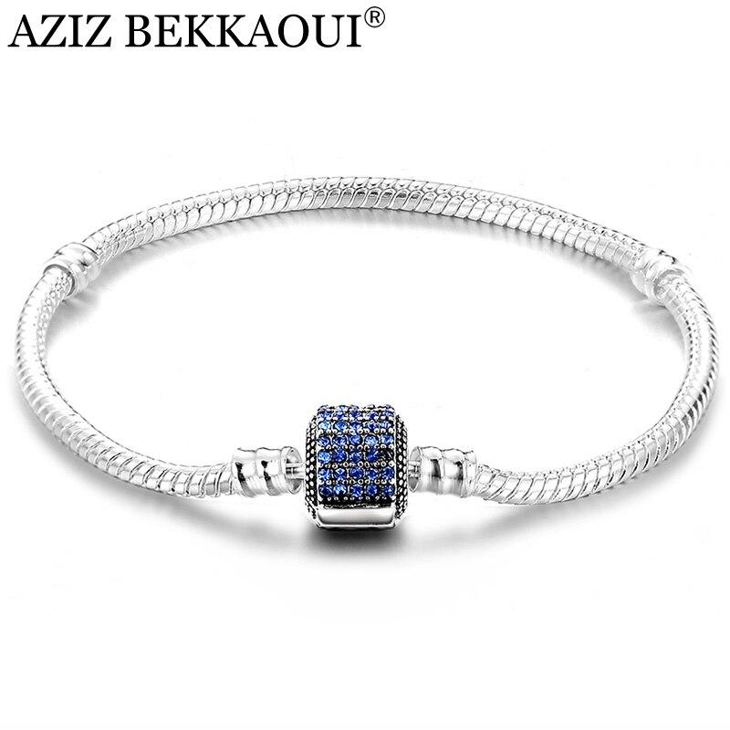 AZIZ BEKKAOUI Blue Crystal Charm Bracelets Diy Rose Red Charm Snake Chain Screw Bracelets Fit Beads Charms