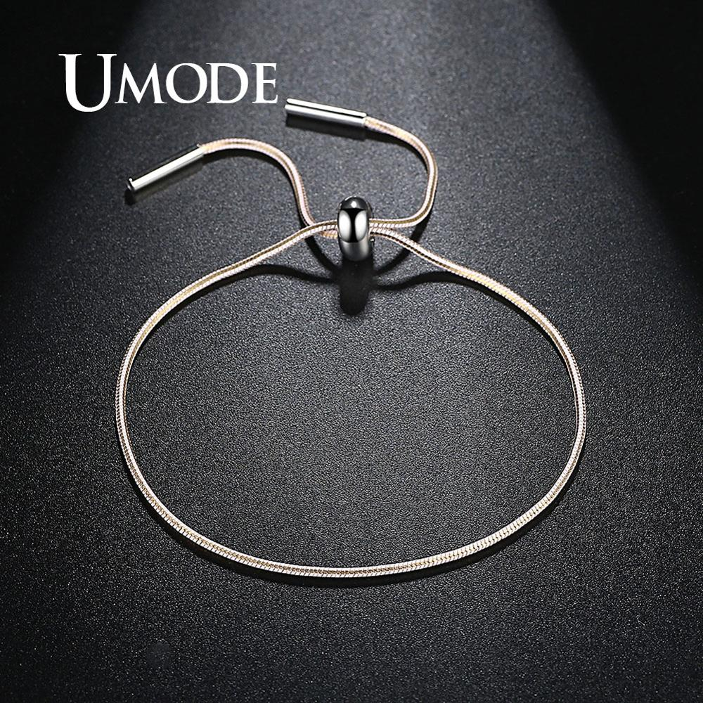 Umode Pink Rope Bracelets For Women White Gold Color Bracelets Thin Simple Men Lace Up Adjustable Jewlery Accessories Ub0114c Chain Link Bracelets Aliexpress