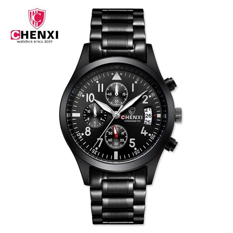 CHENXI New Pilot Mens Chronograph Wrist Watch Waterproof Date Top Luxury Brand Stainless Steel Diver Males Gifts Quartz Clock new chenxi brand dial male clock hours hand date black leather straps mens quartz wrist watch 3atm waterproof wristwatches man