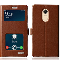 New Genuine Leather Magnet Window Cowhide Case For Xiaomi Redmi Note 4 4X Flip Phone Cover