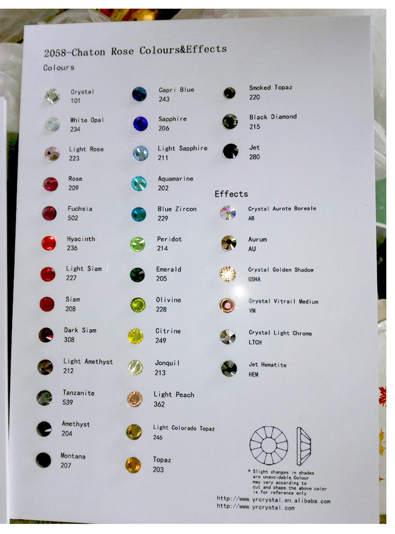 Rhinestone Color Chart Ibovnathandedecker