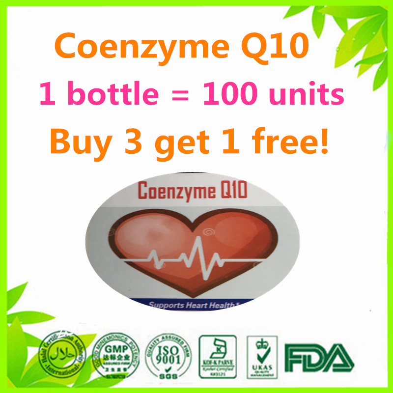 (Buy 3 Get 1 Free)Coenzyme Q10 Heart Antioxidant 100 units Heart Antioxidant Anti Aging Cardiovascular 3bottles lot coenzyme q10 soft capsule youth improvement antioxidant green health product