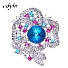 Cdyle Crystals From Swarovski Brooches Women Austrian Rhinestone Fashion Jewelry Elegant Luxury Blue Orange Snowflake Christmas
