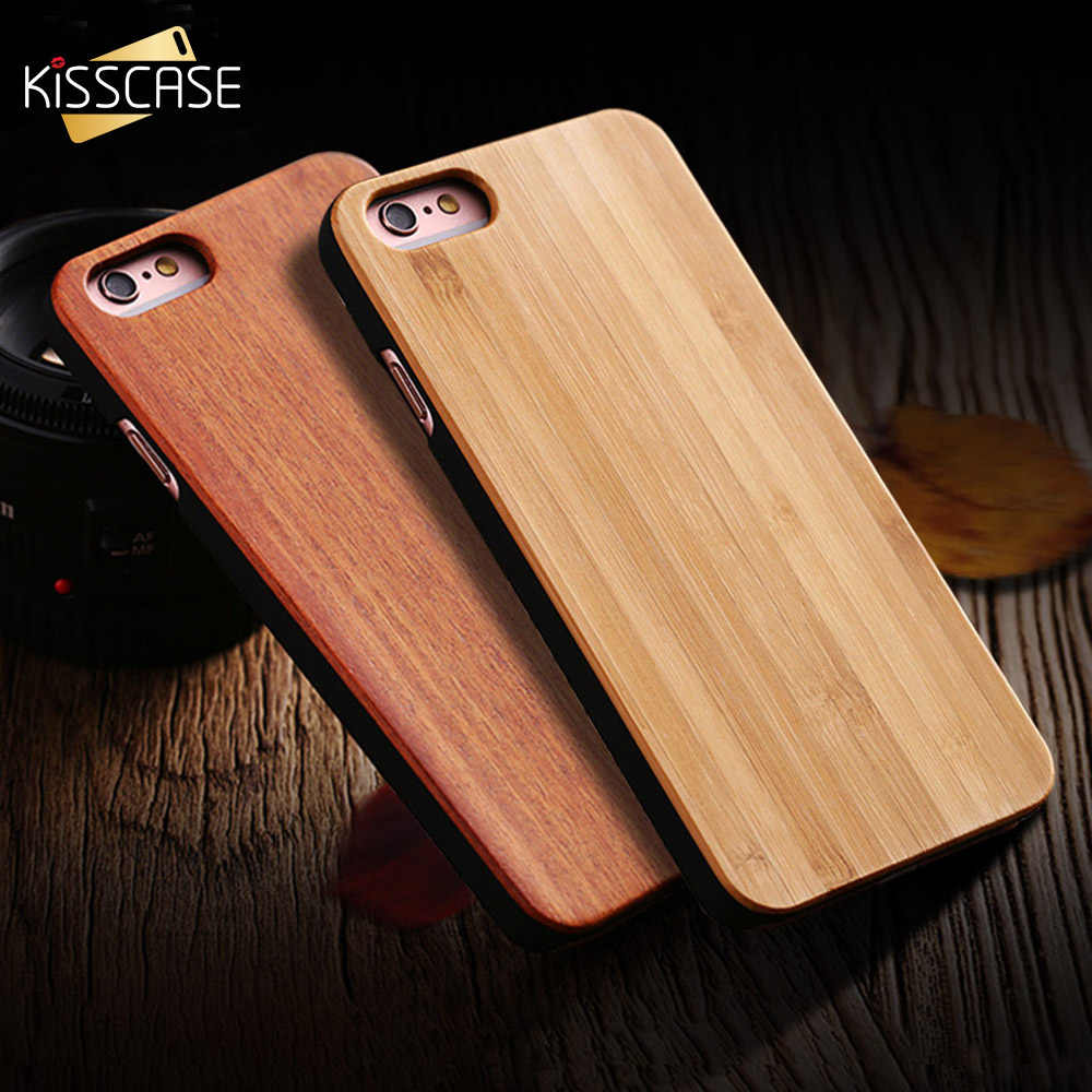 KISSCASE 100% Real Wood Case For iPhone 8 7 6 6S X XS Max XR Genuine Bamboo Cover For Samsung S8 S9 S10 Plus S10e S7 Edge Case