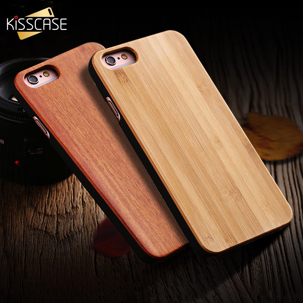 KISSCASE For iPhone 7 6 6s 5 5s SE 100% Original Real Wooden Skin Case Coque Natural Wood Retro Bamboo Hard Back Cover Shells wood