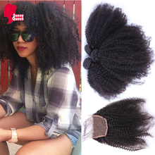 Brazilian Virgin Hair With Closure 4 Pcs Lot Afro Kinky Curly Human Hair With Closure 8A