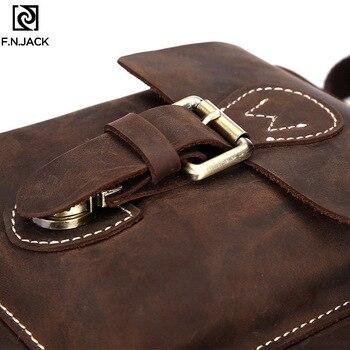 F.N.JACK New Genuine Leather Men's Single Shoulder Bag Leisure Fashion Cowhide Slant Bags Designer Business Crossbody Handbag