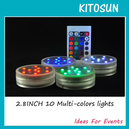 8tk / pakk 2.8inch sukeldatav LED-valgus 10 multi-värviline kaugjuhtimispult LED-pirnid pulm romantiline sisekujundus LED-valgus