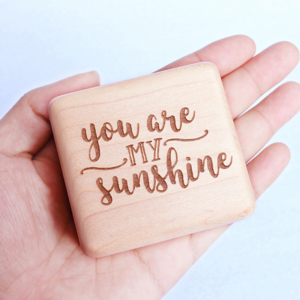 Sinzyo Handmade Wooden You are my sunshine Music Box Wood Carved Mechanism Musical Box Gift For