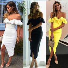 Women V -Neck Ruffle Yellow Black White Mini Dresses Summer Short Sleeve Party Off Shoulder Club Wear Bodycon Pencil Dress цена