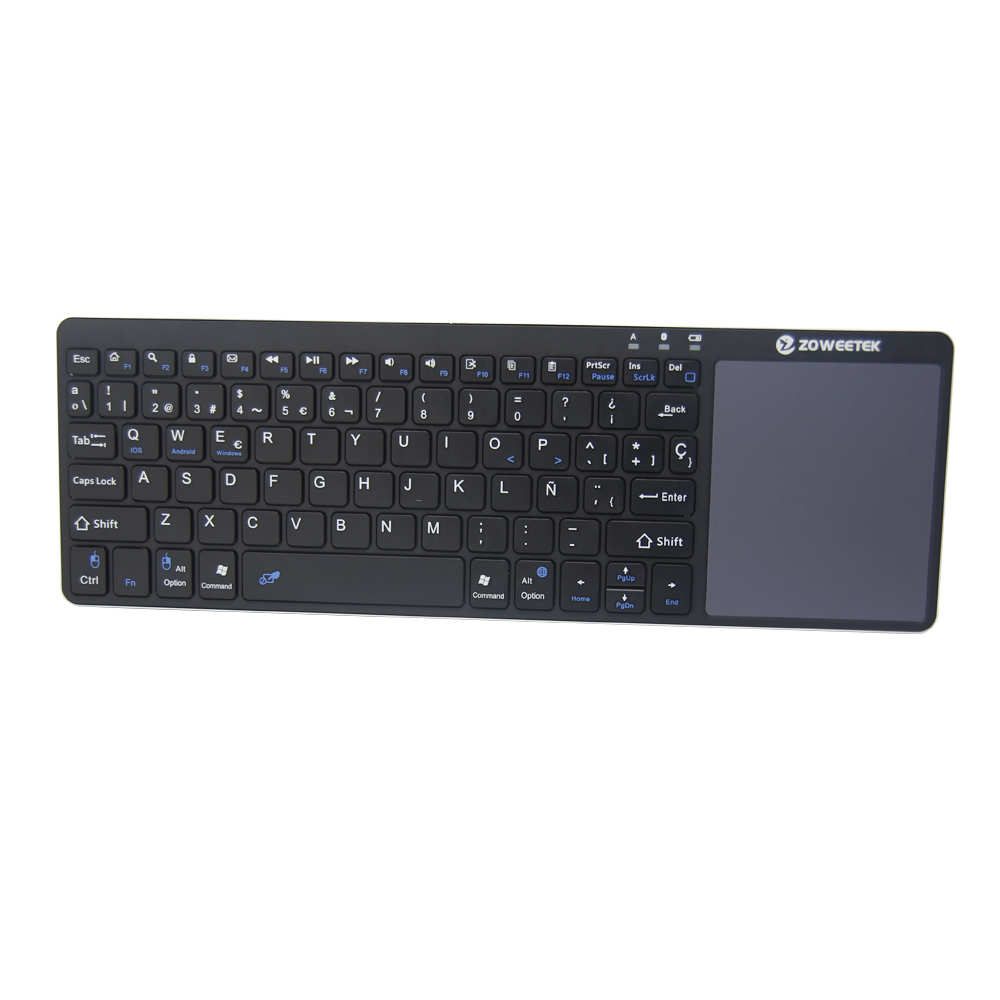 цена на Zoweetek K12BT-1 Air Mouse Mini Portable 2.4GHz Spanish layout Keyboard Touchpad Remote Game Controller Wireless Keyboard