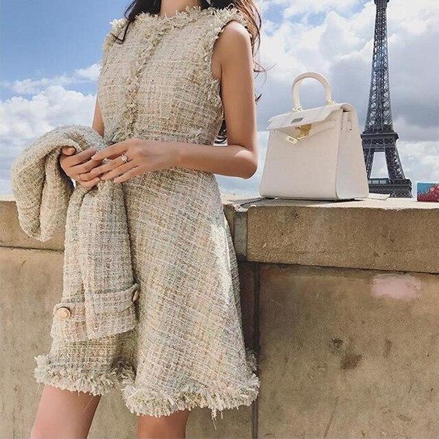 ff179b407003c2 2019 Spring Autumn Women's Shiny Gold Tweed Wool Jacket Sleeveless Dress  Twinset Ladies Small Suit Woolen Tassel Dresses 2 Sets