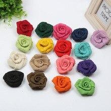 5 unids/lote Flor de arpillera de Yute Natural color rosa hecho a mano decoración de boda Vintage sombrero de fiesta artesanía DIY Accesorios