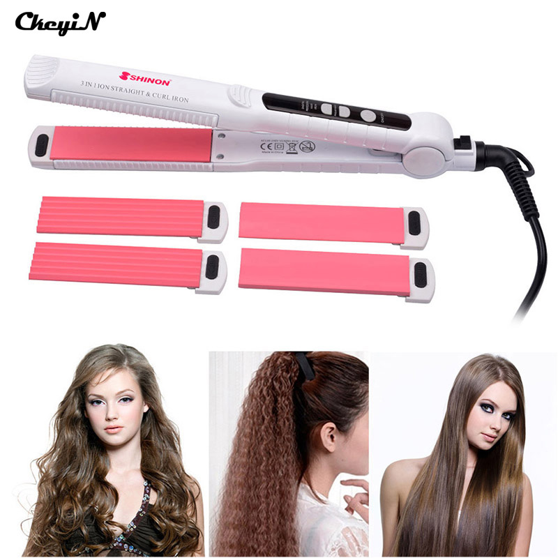 CkeyiN Multifunction 3 In 1 Ceramic Hair Straightener Curler Iron Corn Plate Curl Straightening Curling Irons Clip Styling Tool 3 in 1 multifunction hair straightener hair curler corn plate curler ceramic coating foldable hair curling iron hair styler p00