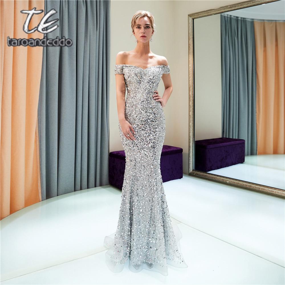 Off The Shoulder Mermaid Prom Dresses Sweep Train Zipper Open Back Evening Formal Party Dress Vestido De Festa 2018