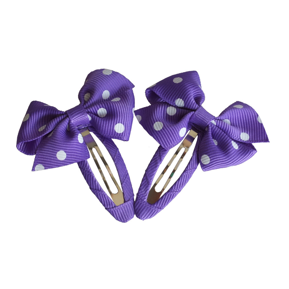 2 pcs Boutique Dots Hair bow Snap clips Kids Girls Hair clip Barrattes Hairbows Hairgrips BB clips Hair accessories Headwear 2015 kids hair accessories lovely polka dot fabric boutique hair bow shair clip girls hair accessories headdress meng