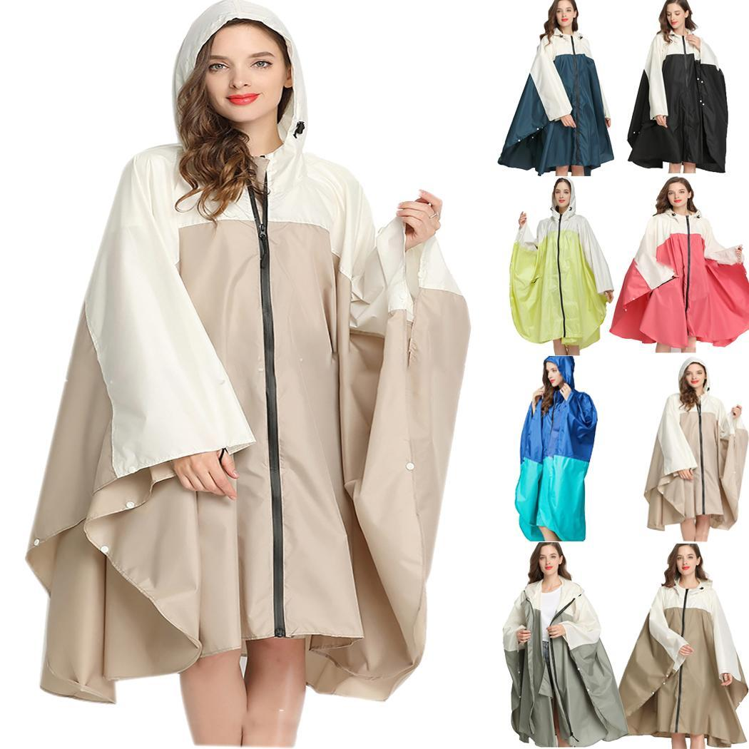 Women Casual Hooded Batwing Sleeve Patchwork Casual, Outdoor, Etc Loose All Seasons Rain Coat Above Knee Jacket